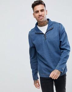 Выбеленная синяя джинсовая куртка с короткой молнией boohooMAN - Синий