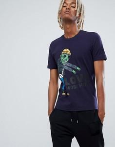 Темно-синяя футболка с принтом Love Moschino - Синий