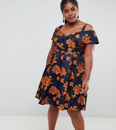 Платье миди для выпускного с цветочным принтом Lovedrobe - Мульти