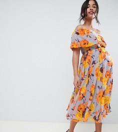 Розовое платье миди с цветочным принтом и вырезом бандо ASOS DESIGN Maternity - Мульти