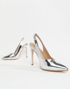 Остроносые туфли на высоком каблуке с открытой пяткой ASOS DESIGN - Серебряный