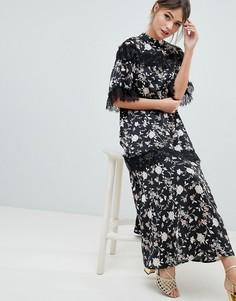 Платье макси с открытой спиной, цветочным принтом и кружевной отделкой Liquorish - Мульти
