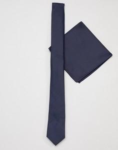 Темно-синий галстук и платок для нагрудного кармана ASOS DESIGN - Темно-синий