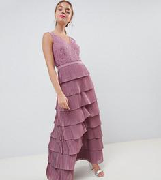 Ярусное платье макси со шнуровкой Little Mistress Petite - Розовый