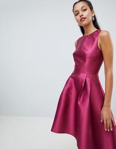 Атласное асимметричное платье Chi Chi London - Фиолетовый