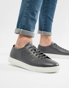Синие кожаные кроссовки с тисненым логотипом Emporio Armani - Синий