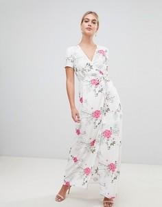 Платье макси с запахом и цветочным принтом Pieces Emi - Белый