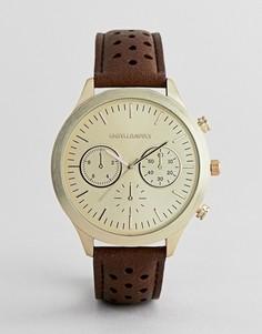 Классические часы с дополнительными циферблатами и перфорированным ремешком ASOS DESIGN - Рыжий