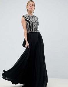 Платье макси с отделкой Jovani - Черный