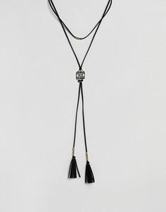 Ожерелье в стиле бохо с монохромной подвеской ASOS DESIGN - Черный