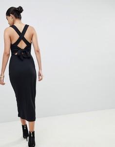 Платье миди в рубчик Fashion Union - Черный
