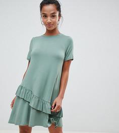 Платье-футболка мини с оборками ASOS DESIGN Petite - Зеленый