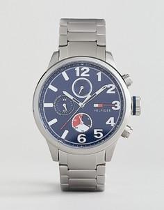 Часы из нержваеющей стали с хронографом и синим циферблатом Tommy Hilfiger Jack - Серебряный