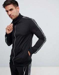 Черная спортивная куртка с отделкой лентой boohooMAN - Черный