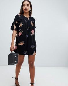 Платье А-силуэта со сборками и принтом AX Paris - Черный