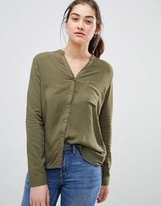Рубашка хаки с длинными рукавами и V-образным вырезом Pull&bear - Зеленый Pull&;Bear