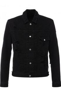Джинсовая куртка с потертостями на кнопках Balmain