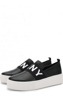 Кожаные слипоны Alicia на платформе DKNY