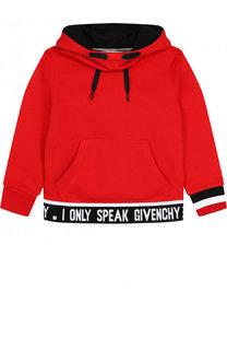 Хлопковое худи с контрастной отделкой Givenchy