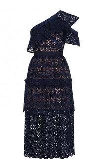 Приталенное платье-миди с оборками self-portrait