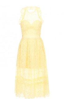 Однотонное кружевное платье-миди self-portrait