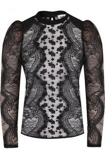 Полупрозрачная блуза с кружевной отделкой self-portrait