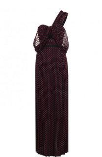 Приталенное платье-макси с открытым плечом и высоким разрезом self-portrait