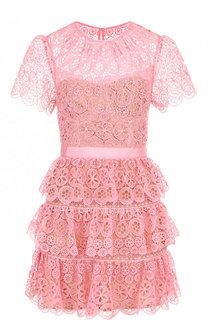Приталенное мини-платье с круглым вырезом и оборками self-portrait