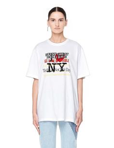 Белая футболка с принтом New York Tourist Vetements