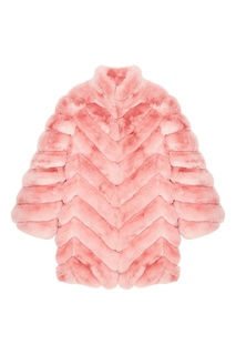Розовое пальто из меха шиншиллы Maison N20