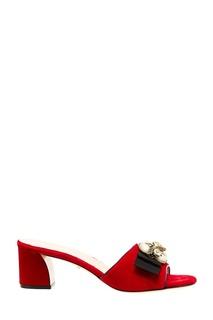 Красные бархатные мюли Gucci