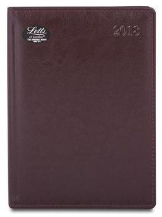 Ежедневник LETTS GLOBAL DELUXE, A5, белые страницы, кожа натуральная, бургунди, 1 шт