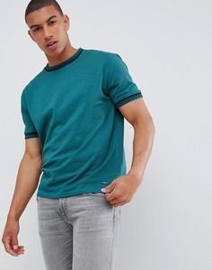 Темно-зеленая футболка с кантом BOSS Twixt - Зеленый