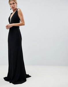 Платье макси с глубоким вырезом Jovani - Черный