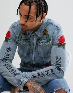 Джинсовая куртка с вышитыми розами Sixth June - Синий
