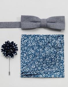 Комплект из галстука-бабочки, платка для нагрудного кармана и бутоньерки Peter Werth - Синий