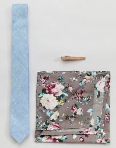 Комплект с узким галстуком, платком для нагрудного кармана и зажимом для галстука Peter Werth - Синий