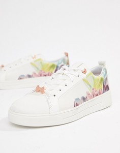 Белые кроссовки с цветочным принтом и шнуровкой Ted Baker - Белый