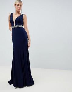 Платье макси со стразами на поясе Jovani - Темно-синий