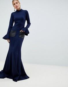 Платье макси с высокой горловиной и длинными рукавами Jovani - Темно-синий