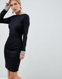 Фактурное платье миди с отделкой на манжетах Jovani - Черный