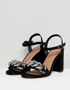 Босоножки на блочном каблуке с цепочкой ASOS DESIGN Hawk - Черный