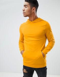 Желтый обтягивающий худи удлиненного кроя ASOS DESIGN - Желтый