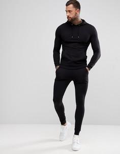 Черный спортивный костюм облегающего кроя из худи и джоггеров ASOS DESIGN - Черный