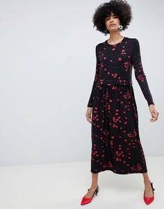 Платье миди с высоким воротом и цветочным принтом Selected Femme - Мульти