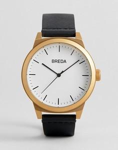 Часы с черным кожаным ремешком Breda Mens Rand - 43 мм - Черный