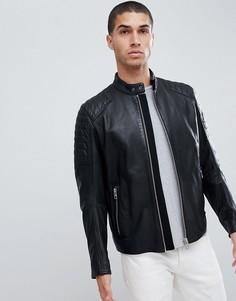 BOSS Jaysee slim fit leather biker jacket in black - Черный