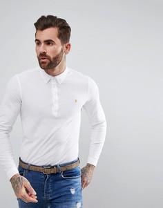 Белая узкая футболка-поло с длинными рукавами Farah Merriweather - Белый