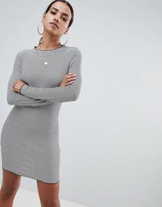 Платье мини в полоску с волнистой окантовкой Missguided - Черный