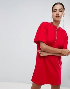Платье-футболка с молнией спереди Missguided - Красный
